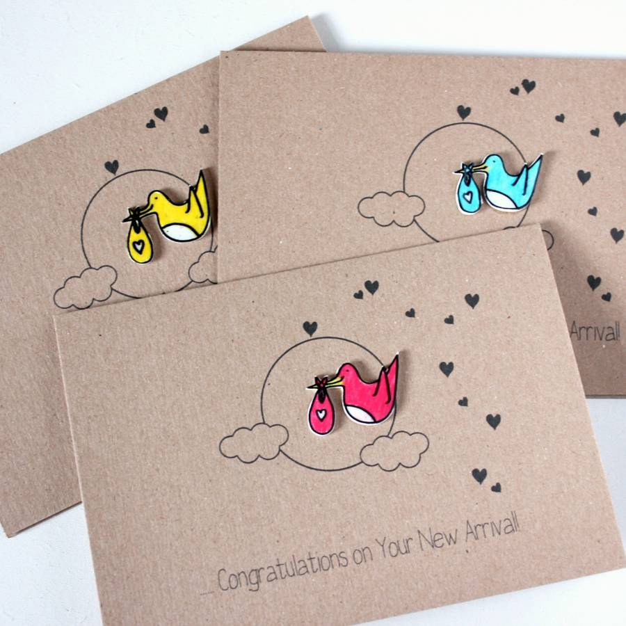 Personalised New Baby Congratulations Stork Card By
