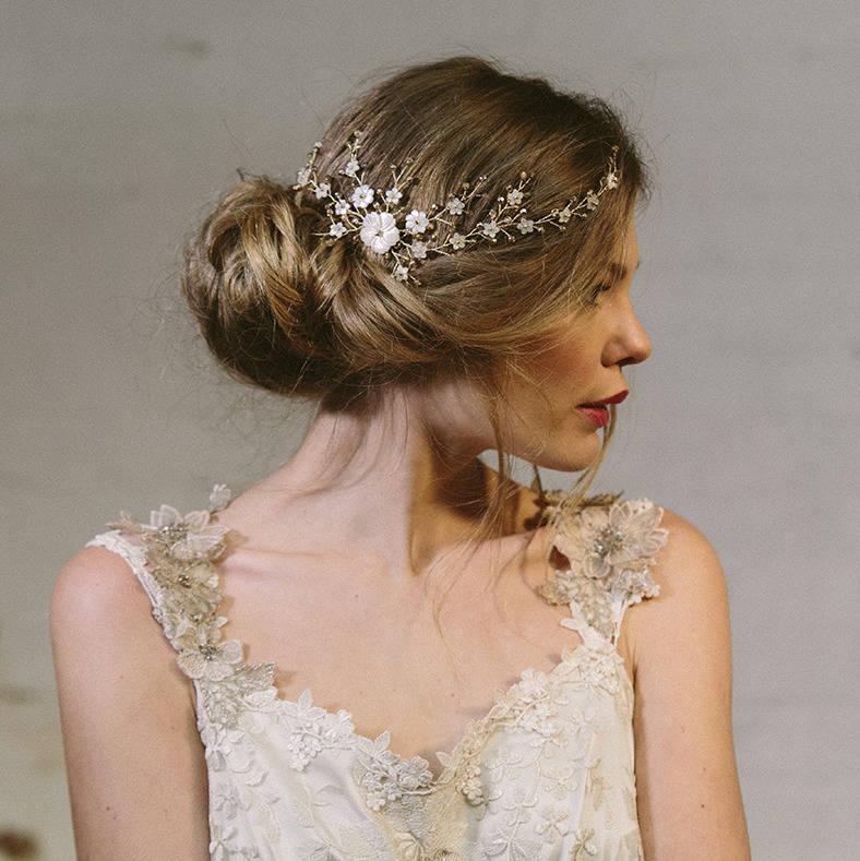 sylvie crystal and pearl wedding hair vine bridal comb