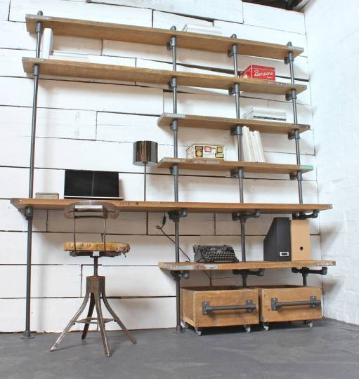 caroline wood and pipe industrial desk and shelves by urban grain     Caroline Wood And Pipe Industrial Desk And Shelves