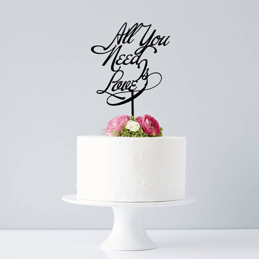 elegant  all you need is love  wedding cake topper by sophia     Elegant  All You Need Is Love  Wedding Cake Topper