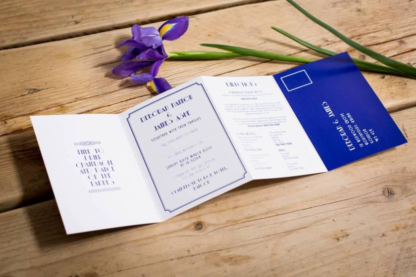 Art Deco Style Booklet Wedding Invitation