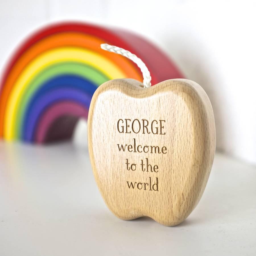 personalised wooden apple keepsake rattleauntie mims