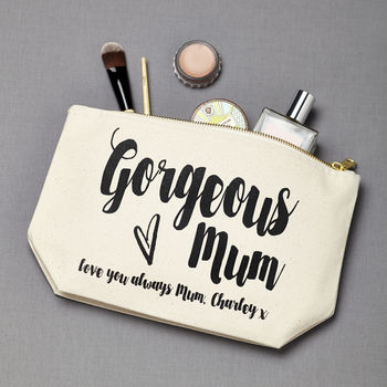 Personalised 'Gorgeous Mum' Make Up Pouch 100 Cheap Thoughtful Gift Ideas For Her Under £20