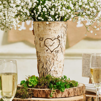 Woodland Party Personalised Rustic Birch Wood Vase