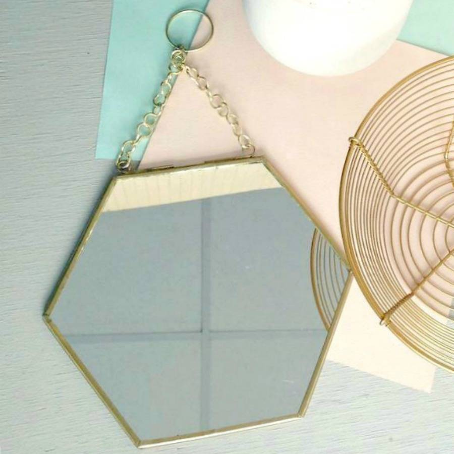 Small Hexagon Shaped Brass Mirror By Posh Totty Designs