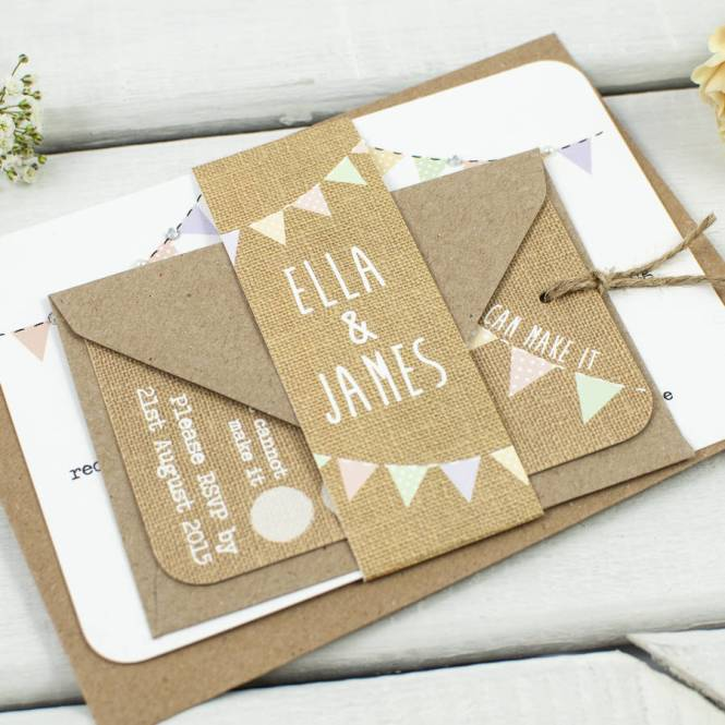 Rustic Wedding Invitations With Hessian Heart Ref 170 Each