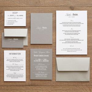 Traditional Style Wedding Invitation Stone Grey