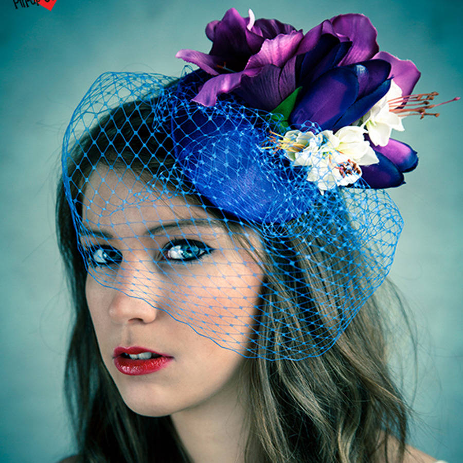 Vintage Style Floral Fascinator With Blue Veil By Ggs Pin