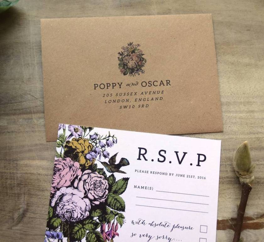 Country Flower Wedding Invitation Set