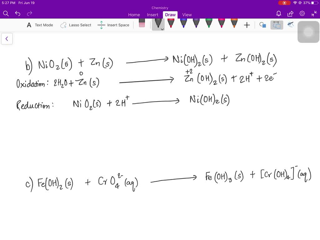 Balance The Following Redox Equations All Occur