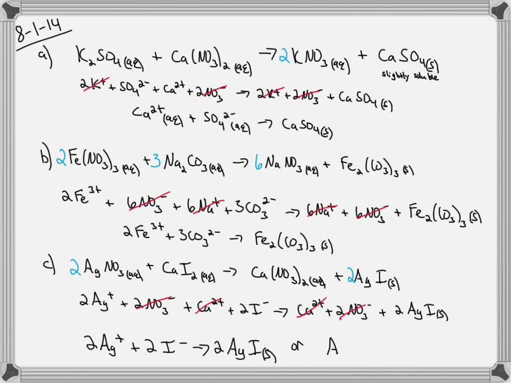 Solved Write Balanced Net Ionic Equations For The