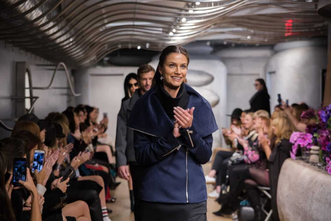 This navy coat is great for women of all ages.