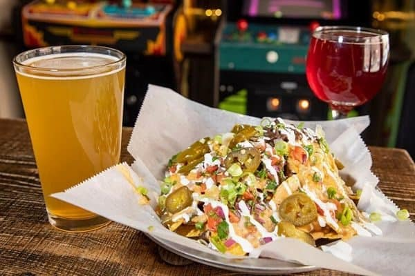 barcade loaded nachos and drinks