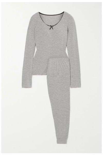 Morgan Lane June Lace-trimmed Jersey Pajama Set in Gray