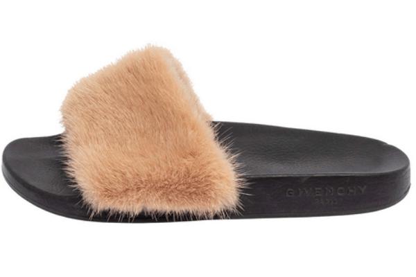 Givenchy Beige Mink Fur Flat Slides