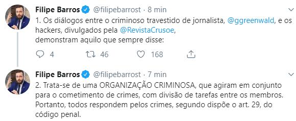 Trata-se de uma organização criminosa dispara Barros sobre caso do Hacker