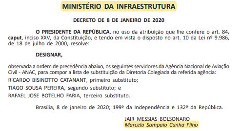 Bolsonaro passa por cima de Alcolumbre e nomeia 3 diretores substitutos para a Anac