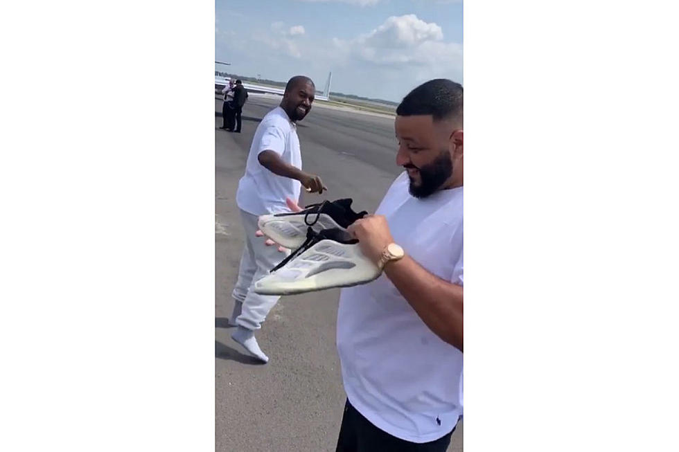 Kanye Gives DJ Khaled Unreleased Yeezys Off His Feet At The Airport