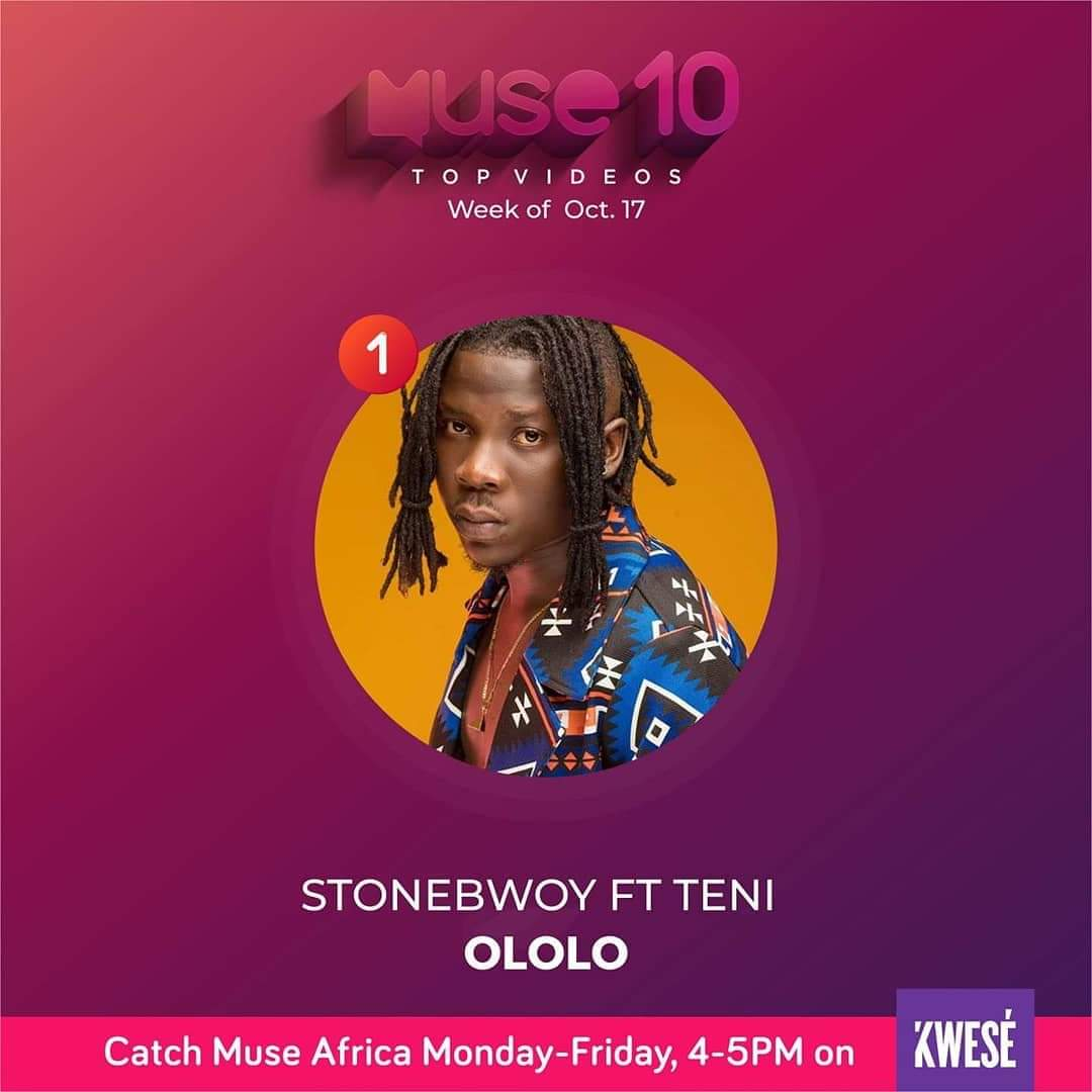 Stonebwoy & Teni's 'Ololo' Tops Muse Africa Countdown