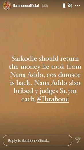 Ibrah One Sarkodie return money nana addo