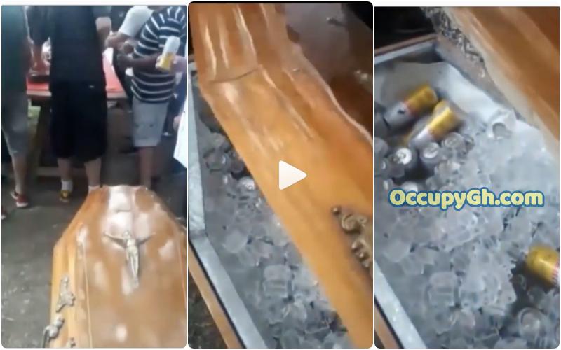 men drink beer coffin