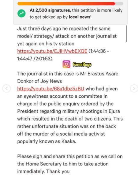 'Ban Kennedy Agyapong from entering UK' – Nana Aba promotes online petition (screenshot). 51