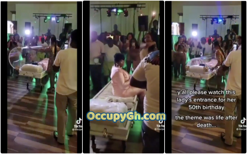Woman Attends Birthday Party Inside Coffin