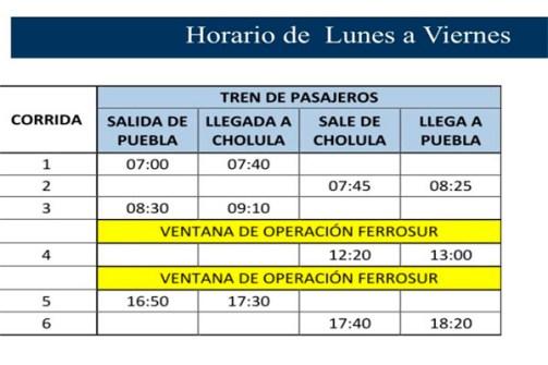 horarios tren turistico