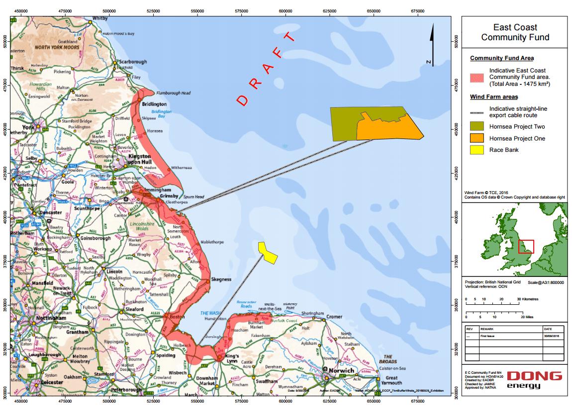Dong Energy S Uk East Coast Community Fund Benefit Area