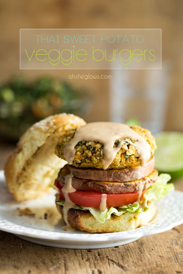 thaiveggieburger 2351   Thai Sweet Potato Veggie Burgers with Spicy Peanut Sauce