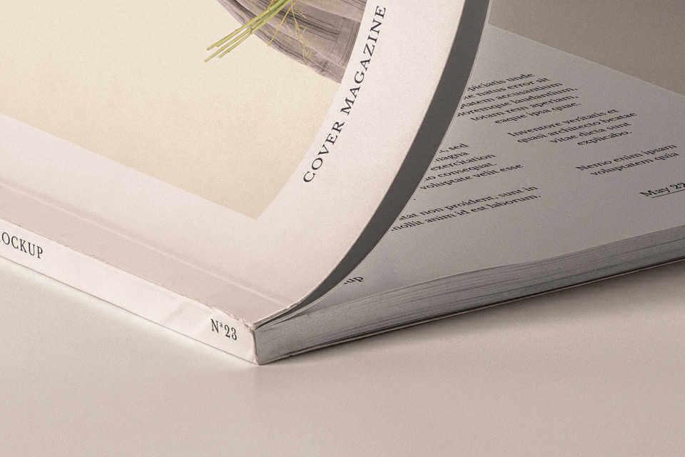 detalle lomo de mockup de revista gratis