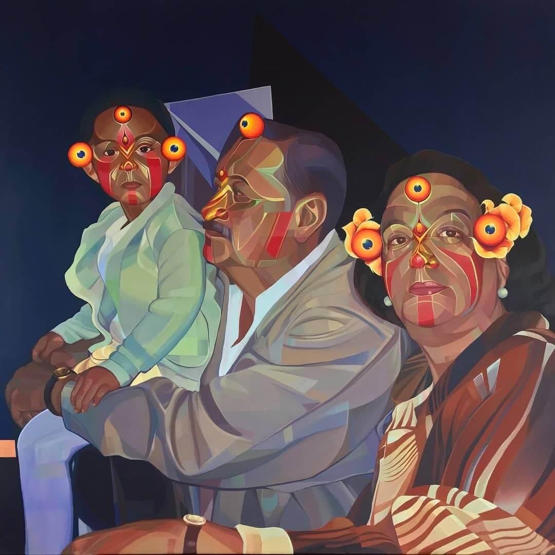 mural de familia colombiana por gleo