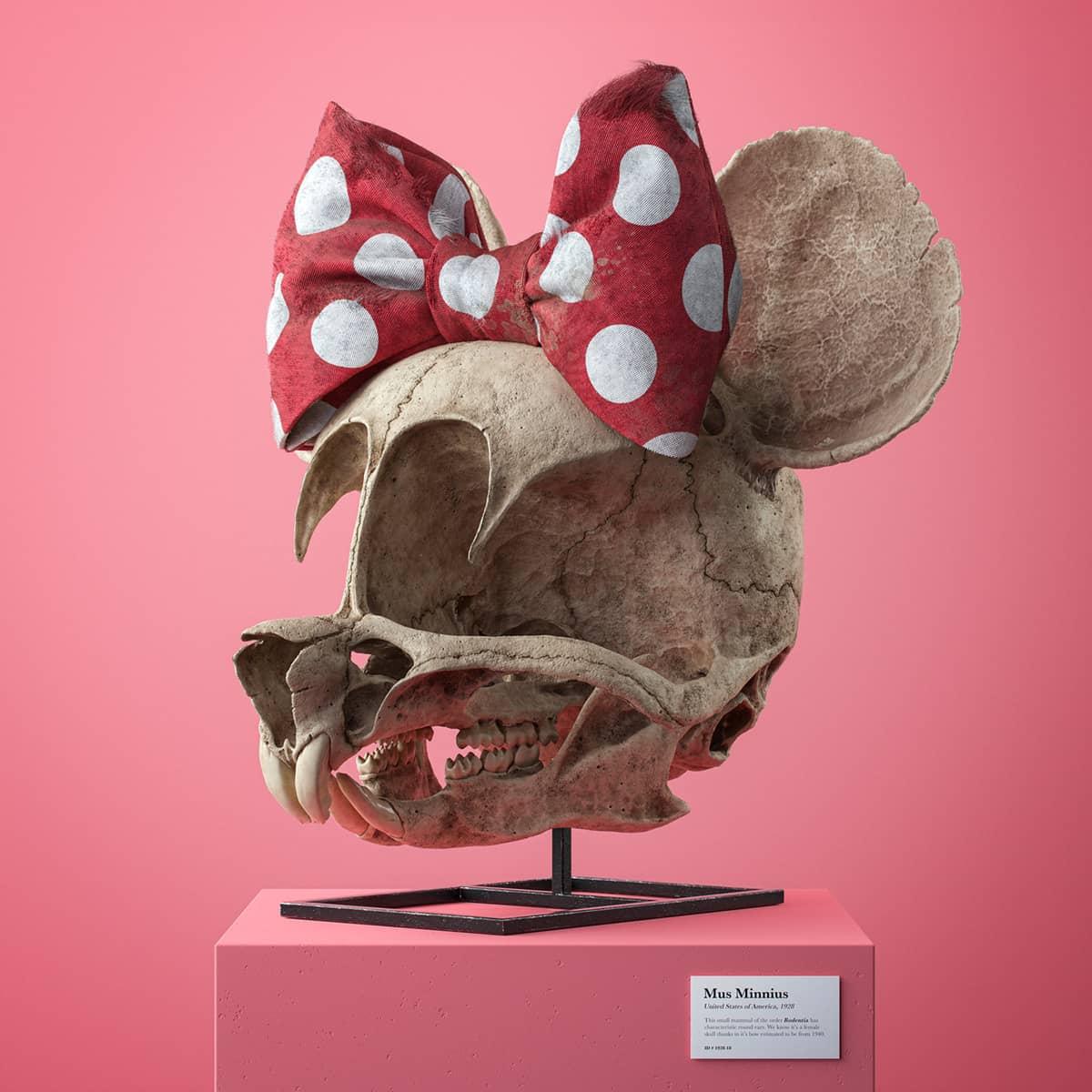 craneo en tres dimensiones de minnie hecho por el artista Filip Hodas