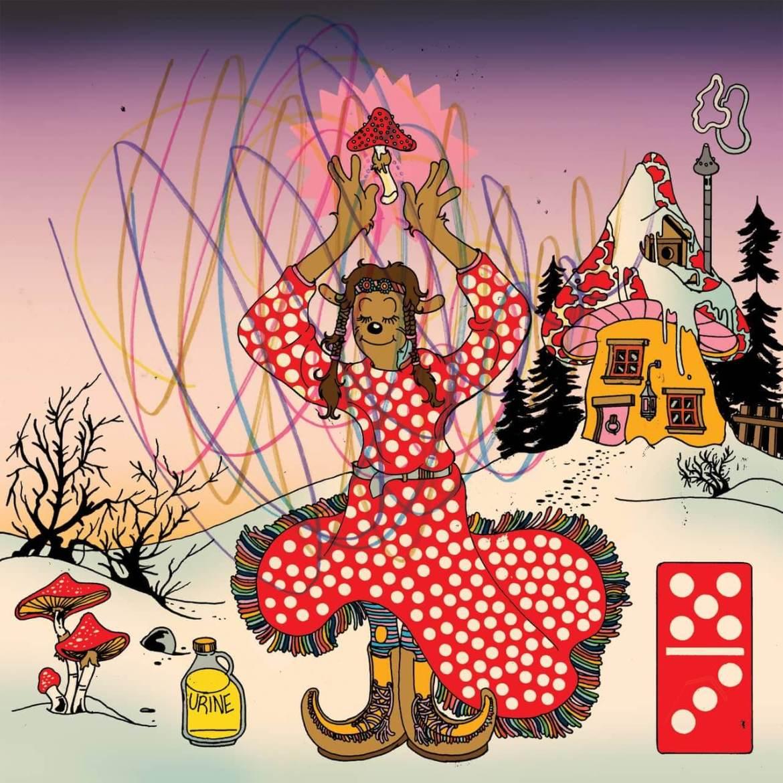 dibujo de una chica recogiendo setas en el campo