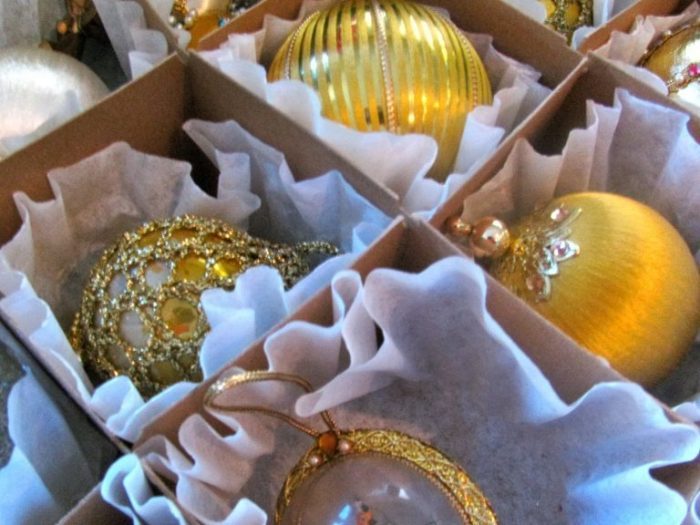 use coffee filters to cushion ornaments by one crazy house