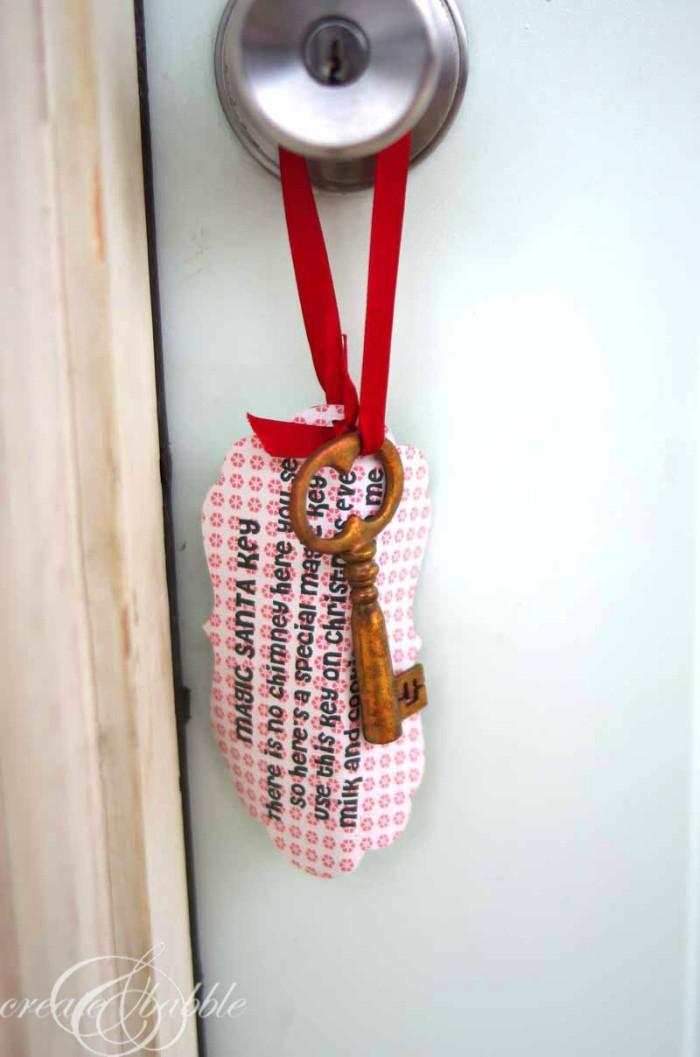 magic Santa key hanging from a doorknob