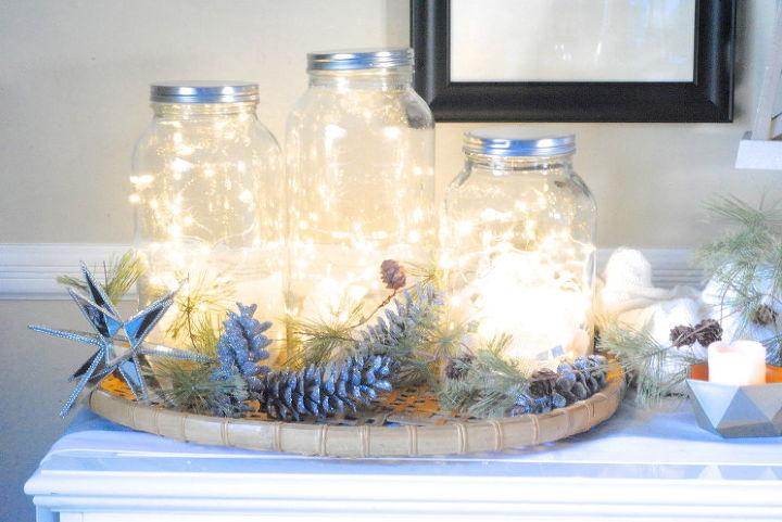 holiday lights mason jars