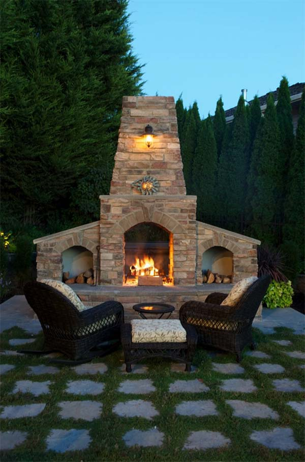 53 Most amazing outdoor fireplace designs ever on Backyard Exterior Design id=33198