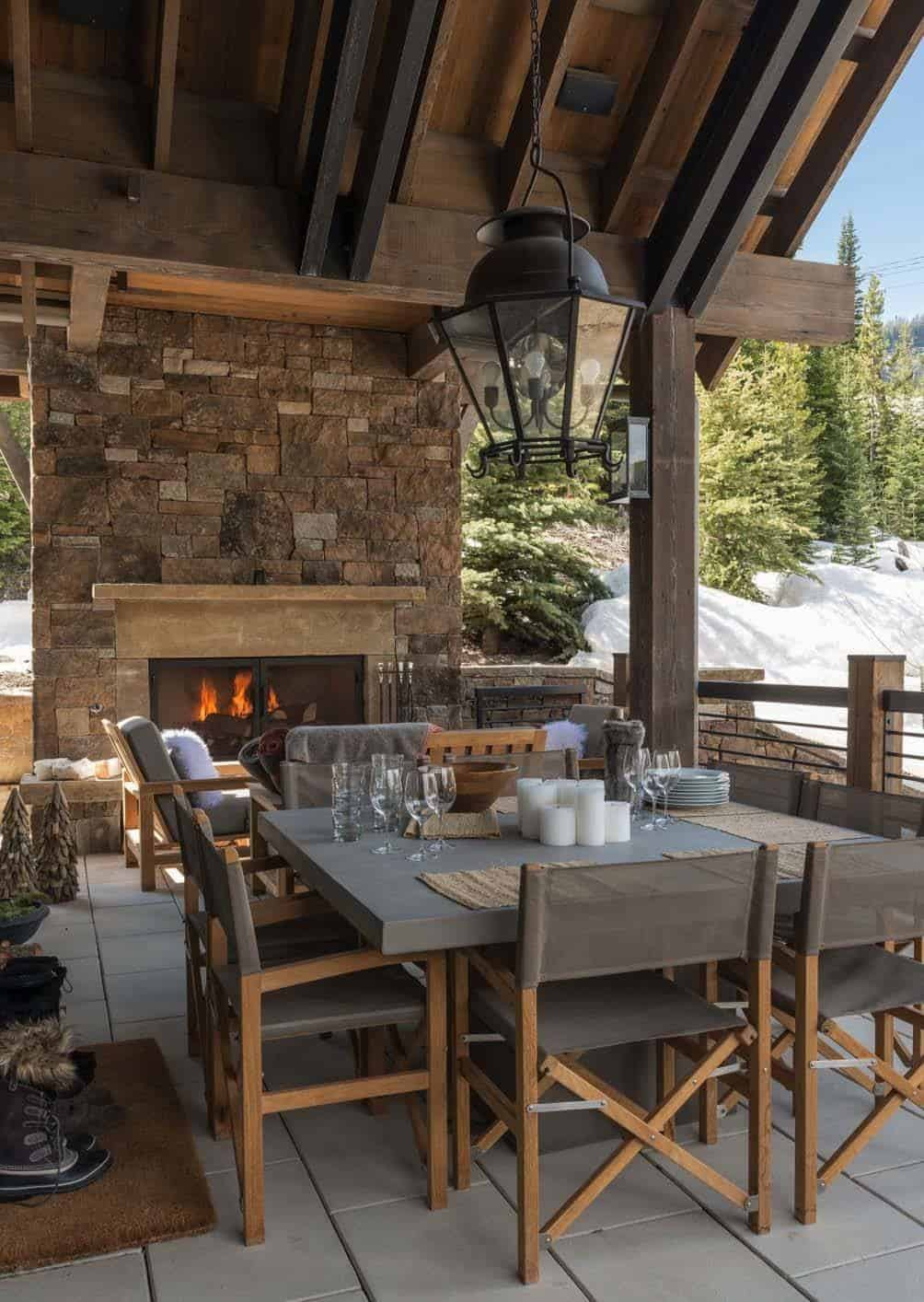 Ski-in/ski-out chalet in Montana with rustic-modern styling on Mountain Backyard Ideas  id=49946