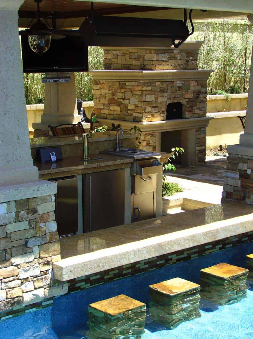 33 Mega-Impressive swim-up pool bars built for entertaining on Backyard Pool Bar Designs  id=23271