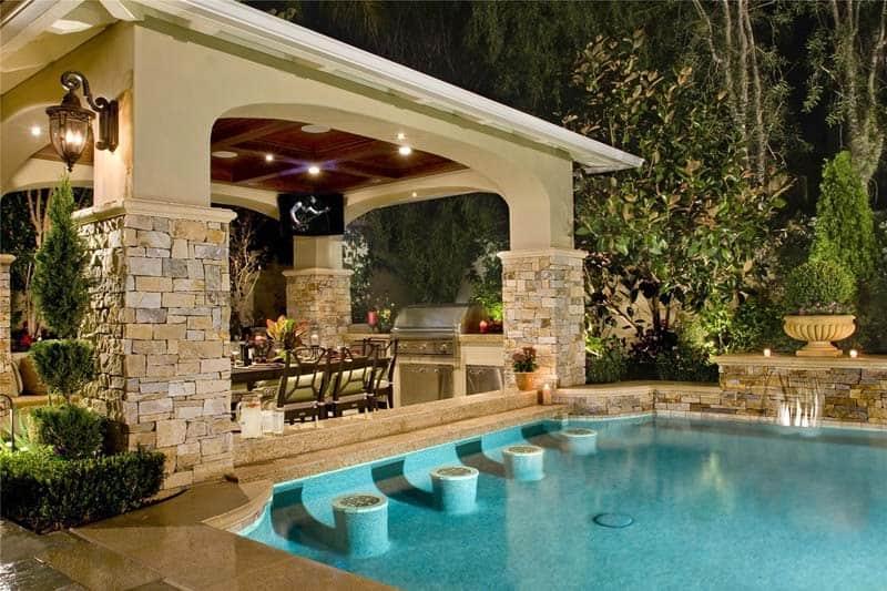33 Mega-Impressive swim-up pool bars built for entertaining on Backyard Pool Bar Designs  id=58022