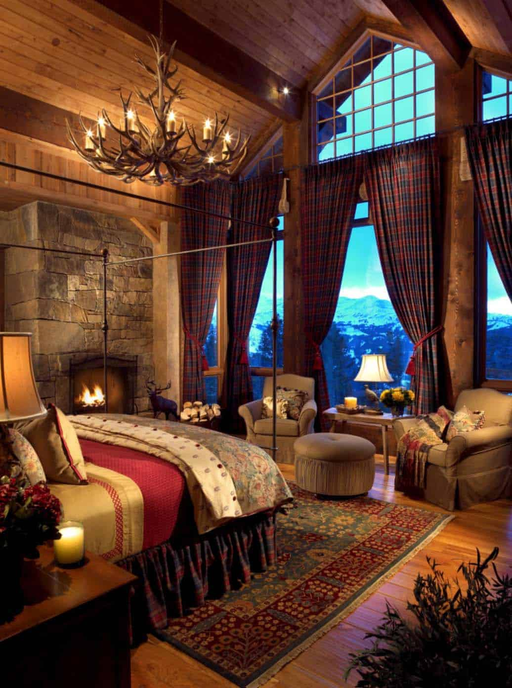 35 gorgeous log cabin style bedrooms