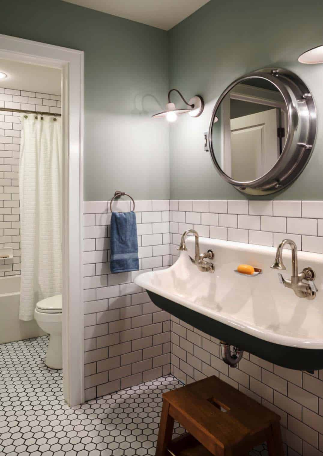 21 Gorgeous farmhouse style bathrooms you will love on Farmhouse Bathroom Tile  id=84309