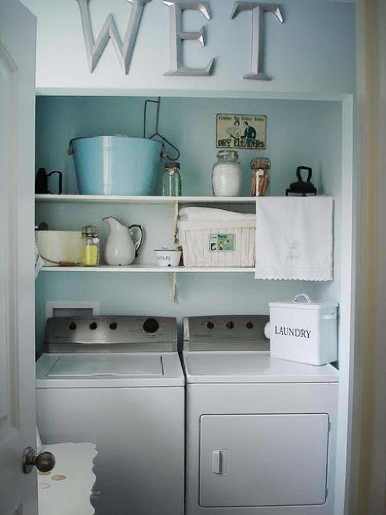 35 Clever ways to create functional and stylish small ... on Laundry Room Shelves Ideas  id=39216