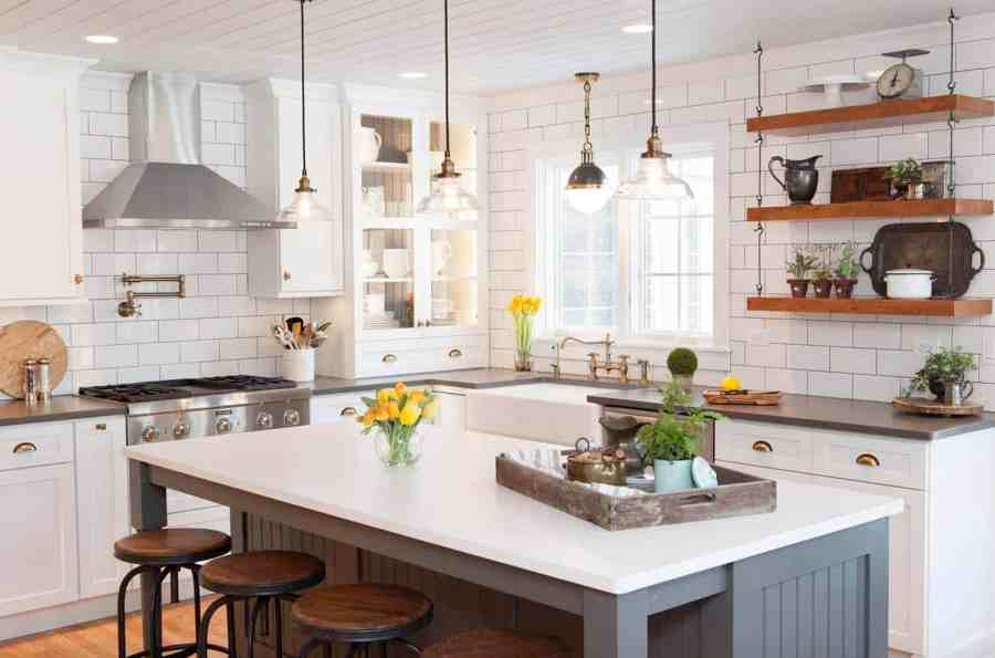 35  Amazingly creative and stylish farmhouse kitchen ideas 16  Classic gray and white cabinetry are from Dura Supreme  The island is  approximately 8 x48     Suede quartz Silestone graces the countertops