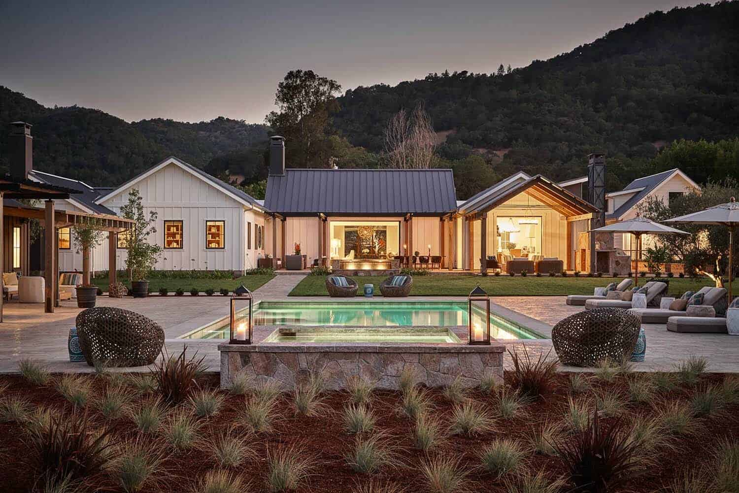 Delightful contemporary farmhouse nestled in Napa wine country on Farmhouse Outdoor Living Space id=89433