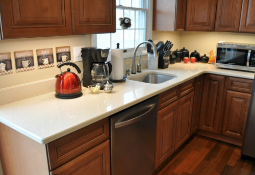 DuPont Zodiaq Countertop Installation & Review - One ... on Maple Cabinets White Countertops  id=68296