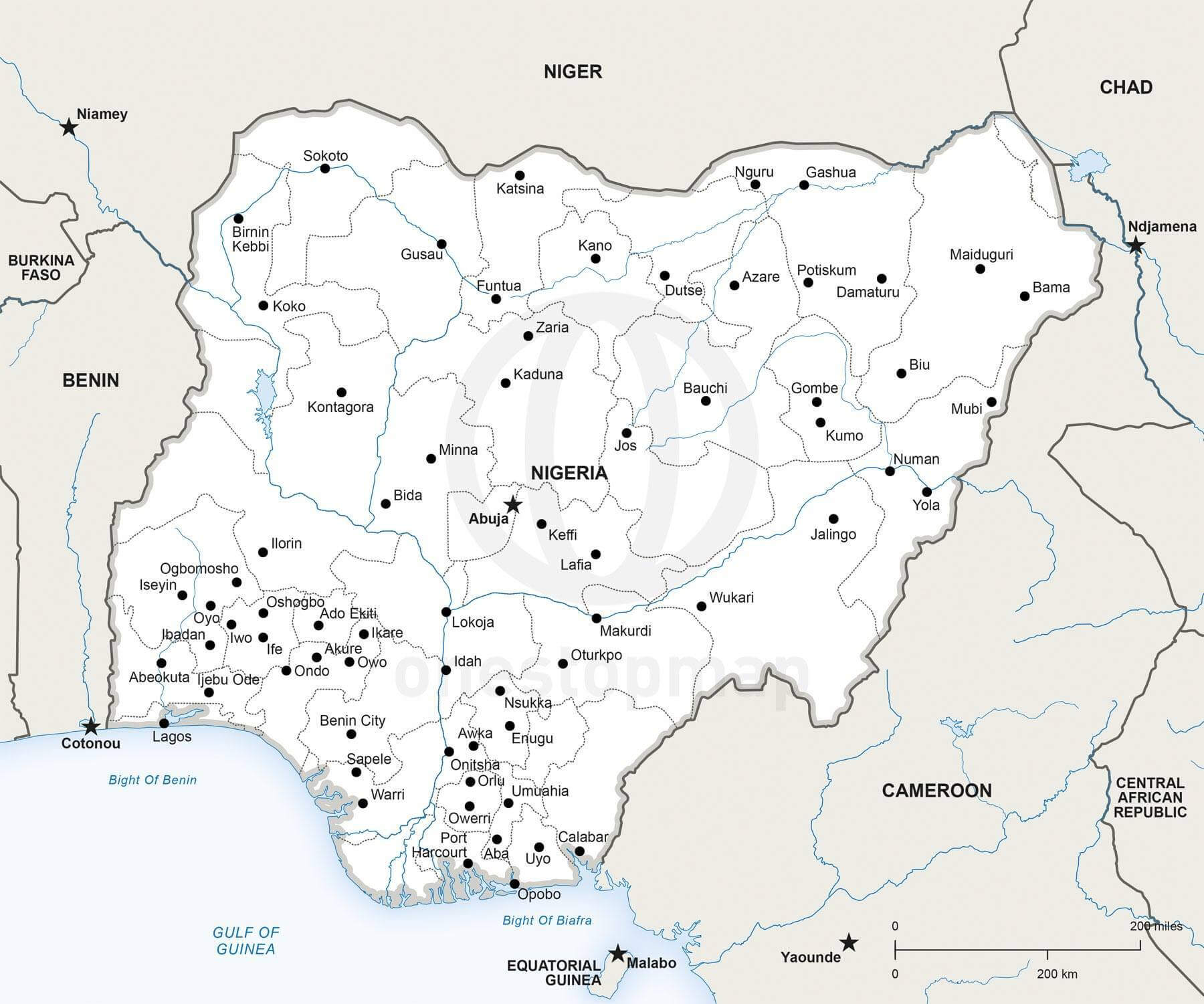 Vector Map Of Nigeria Political