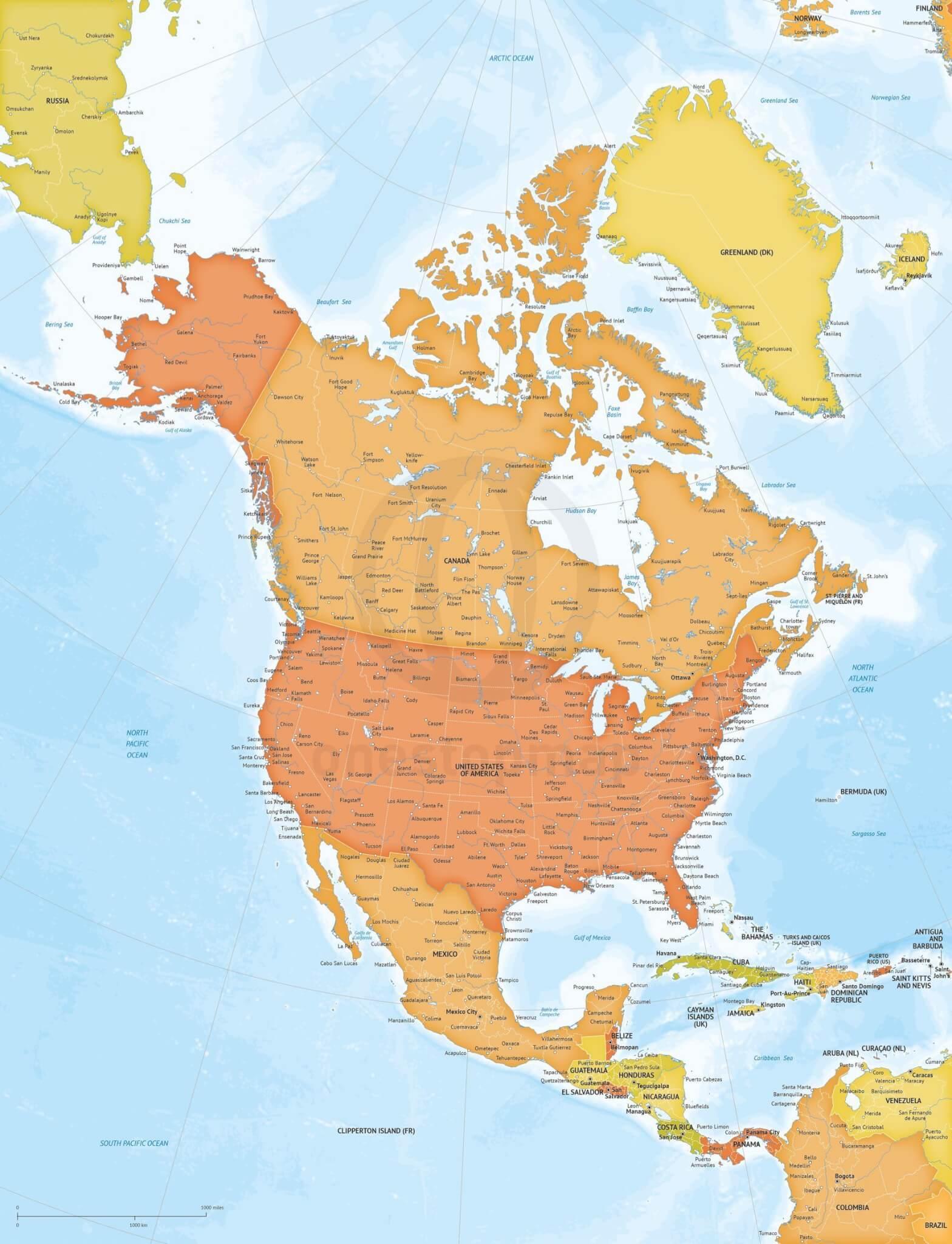 Vector Map North America Bathymetry Xl