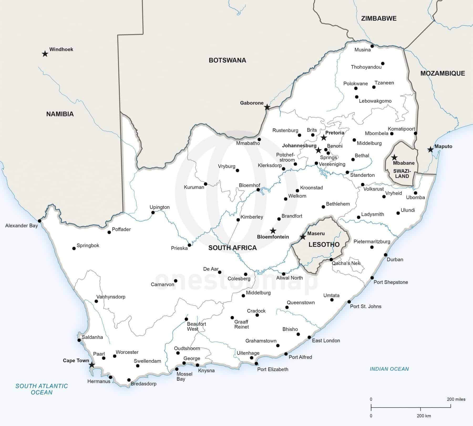Vector Map Of South Africa Political